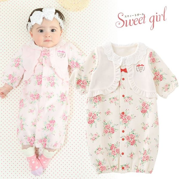41f478cd6efa8 ベビー服 赤ちゃん 服 ベビー ツーウェイオール 女の子 新生児 スウィートガール  見せかけベストお花柄