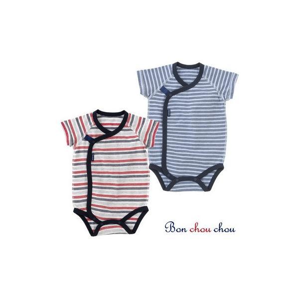 fb3706d0faa0b ベビー服 赤ちゃん 服 ベビー ロンパース 男の子 60 70  ボンシュシュ ボーダー半袖ロンパースの