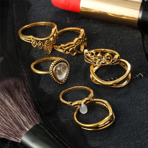 リング 指輪 レディース 7個セット セットリング アクセサリー シルバー ゴールド 蓮 花 ストーン ジュエリー アクセ V字