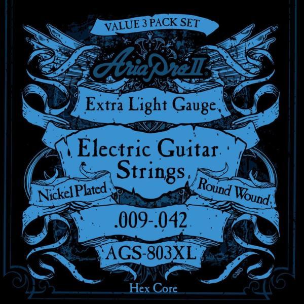 エレキギター弦 3セットパック エクストラライトゲージ AriaProII AGS-803XL|chuya-online