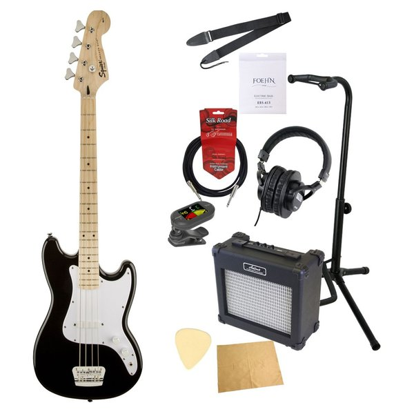 エレキベース入門10点セット Squier Bronco Bass BLK エレキベース