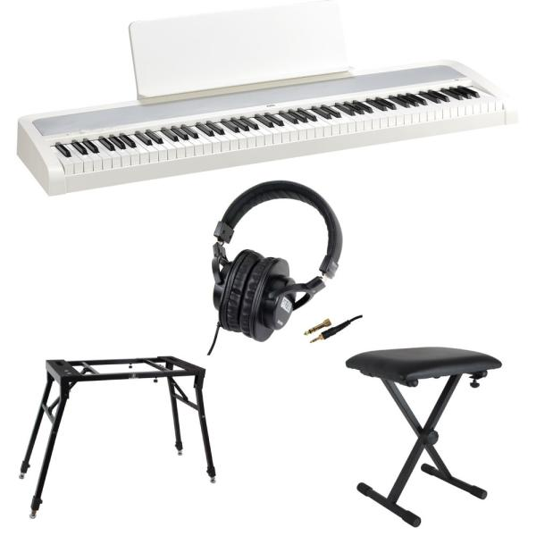 KORG B2 WH 電子ピアノ Dicon Audio 4本脚型 キーボードスタンド&ベンチ SD GAZERヘッドホン 4点セット