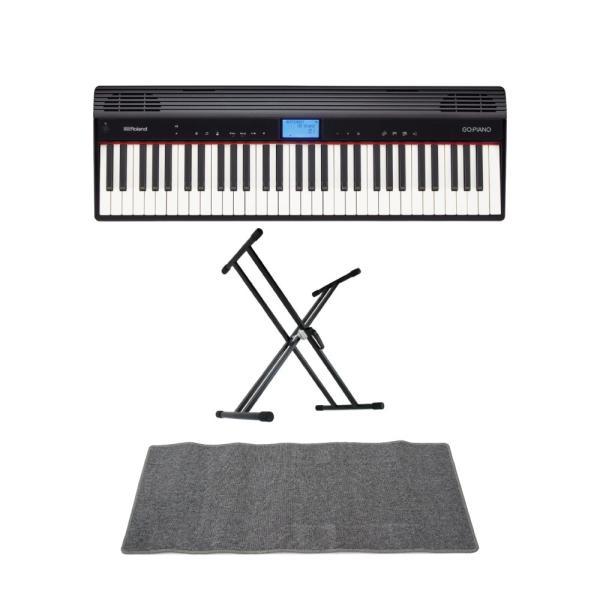 ROLAND GO-61P GO:PIANO エントリーキーボード ピアノ KS-020 X型スタンド ピアノマット(グレイ)付きセット