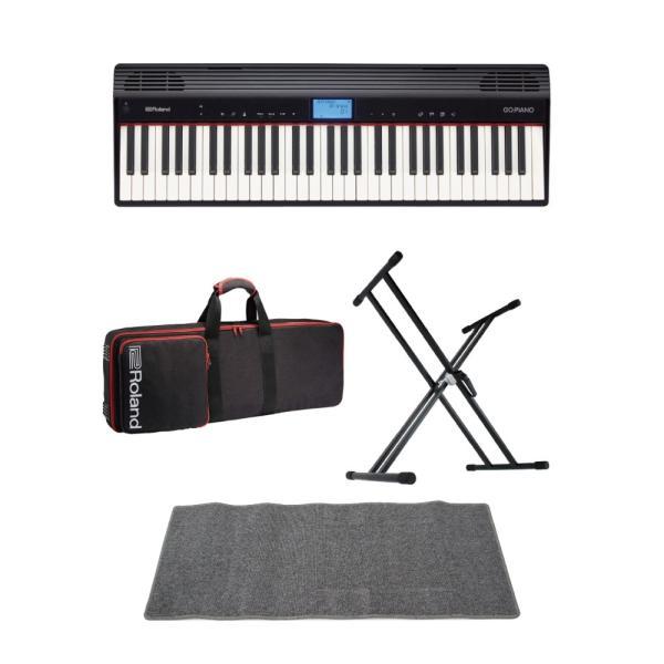 ROLAND GO-61P GO:PIANO エントリーキーボード ピアノ 純正ケース/X型キーボードスタンド/ピアノマット(グレイ)付きセット