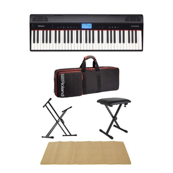 ROLAND GO-61P GO:PIANO エントリーキーボード 純正ケース/X型キーボードスタンド/X型椅子/ピアノマット(クリーム)付きセット