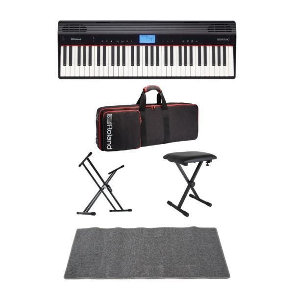 ROLAND GO-61P GO:PIANO エントリーキーボード 純正ケース/X型キーボードスタンド/X型椅子/ピアノマット(グレイ)付きセット
