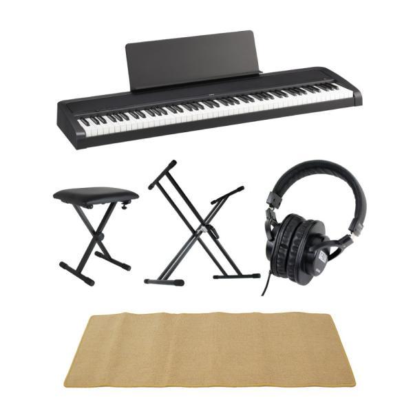 KORG B2 BK 電子ピアノ Dicon Audio X型キーボードスタンド ベンチ SD GAZERヘッドホン ピアノマット(クリーム)付きセット