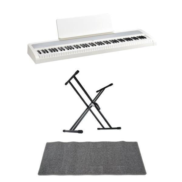 KORG B2 WH 電子ピアノ Dicon Audio KS-020 X型キーボードスタンド ピアノマット(グレイ)付きセット