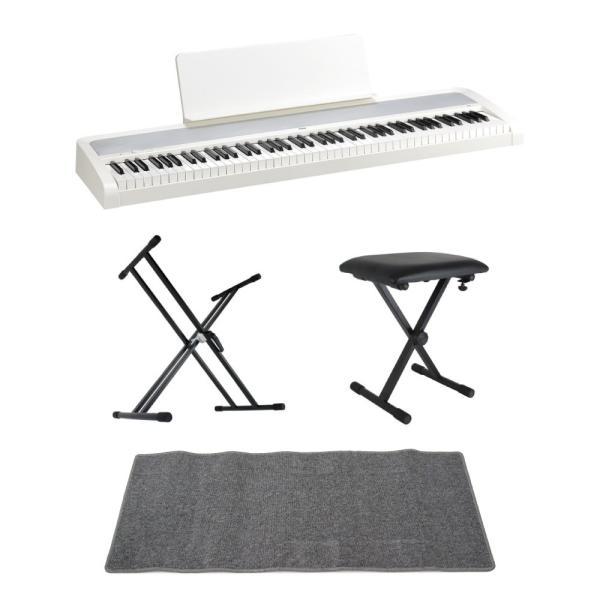 KORG B2 WH 電子ピアノ Dicon Audio X型キーボードスタンド キーボードベンチ ピアノマット(グレイ)付きセット