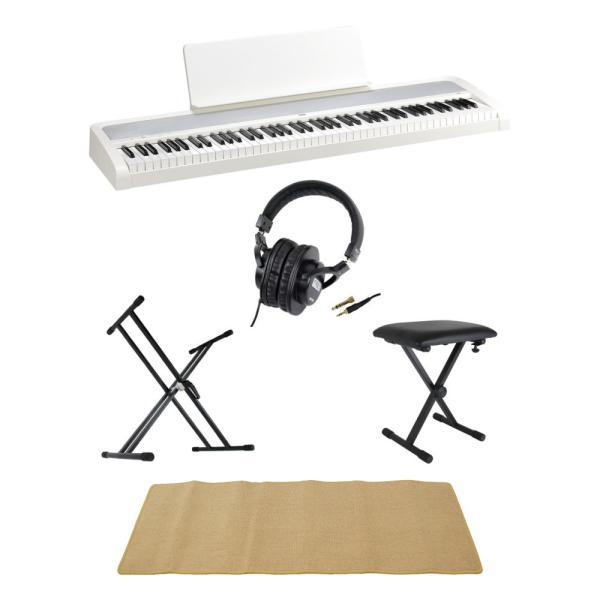 KORG B2 WH 電子ピアノ Dicon Audio X型キーボードスタンド ベンチ SD GAZERヘッドホン ピアノマット(クリーム)付きセット