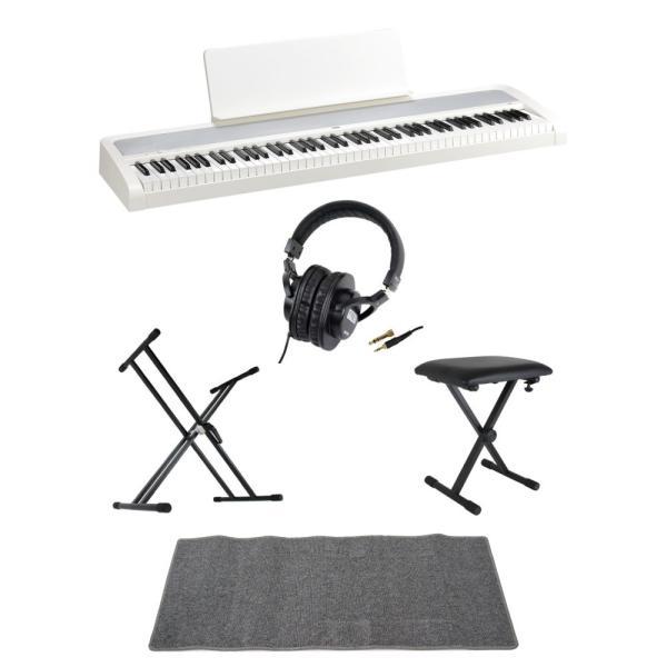 KORG B2 WH 電子ピアノ Dicon Audio X型キーボードスタンド ベンチ SD GAZERヘッドホン ピアノマット(グレイ)付きセット