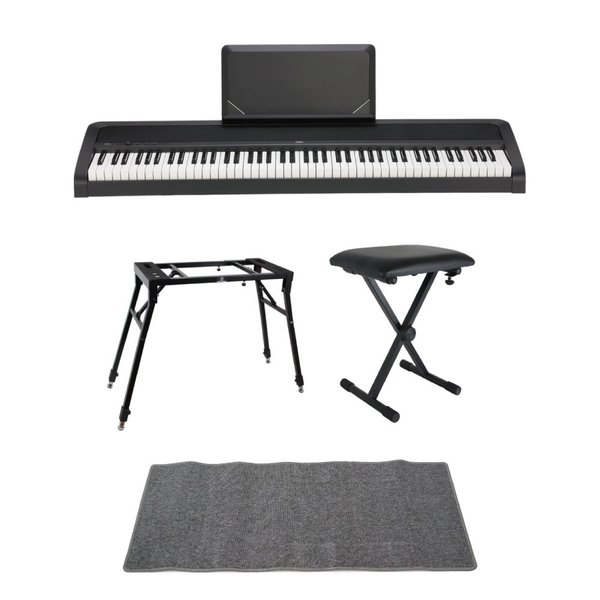KORG B2N BK 電子ピアノ Dicon Audio 4本脚型 キーボードスタンド ベンチ ピアノマット(グレイ)付きセット
