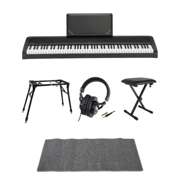 KORG B2N BK 電子ピアノ Dicon Audio 4本脚型 キーボードスタンド ベンチ ヘッドホン ピアノマット(グレイ)付きセット