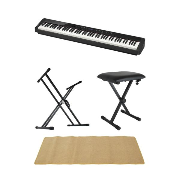 CASIO Privia PX-S3000 BK 電子ピアノ キーボードスタンド キーボードベンチ ピアノマット(クリーム)付きセット