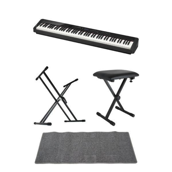 CASIO Privia PX-S3000 BK 電子ピアノ キーボードスタンド キーボードベンチ ピアノマット(グレイ)付きセット