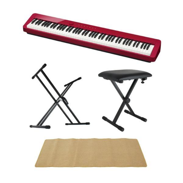 CASIO Privia PX-S1000 RED 電子ピアノ キーボードスタンド キーボードベンチ ピアノマット(クリーム)付きセット