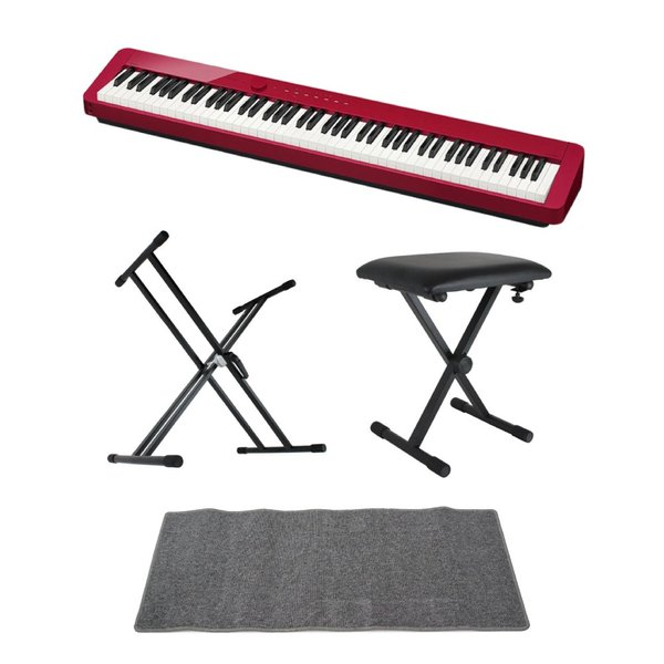 CASIO Privia PX-S1000 RED 電子ピアノ キーボードスタンド キーボードベンチ ピアノマット(グレイ)付きセット