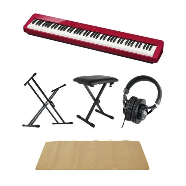CASIO Privia PX-S1000 RED 電子ピアノ キーボードスタンド キーボードベンチ ヘッドホン ピアノマット(クリーム)付きセット