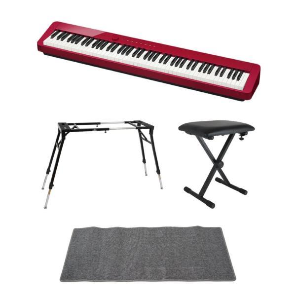 CASIO Privia PX-S1000 RED 電子ピアノ 4本脚型キーボードスタンド キーボードベンチ ピアノマット(グレイ)付きセット