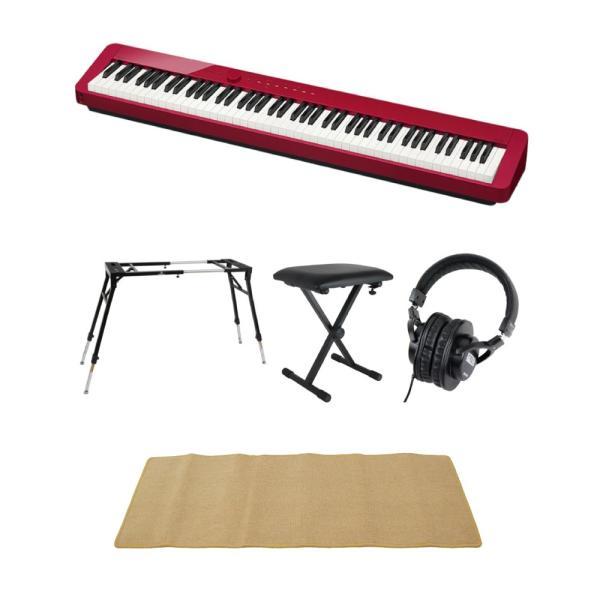 CASIO Privia PX-S1000 RED 電子ピアノ 4本脚型キーボードスタンド キーボードベンチ ヘッドホン ピアノマット(クリーム)付きセット