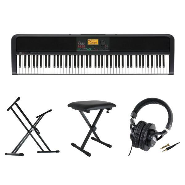 KORG XE20 DIGITAL ENSEMBLE PIANO 88鍵盤 自動伴奏機能付き 電子ピアノ キーボードスタンド キーボードベンチ ヘッドホン 4点セット [鍵盤 Cset]