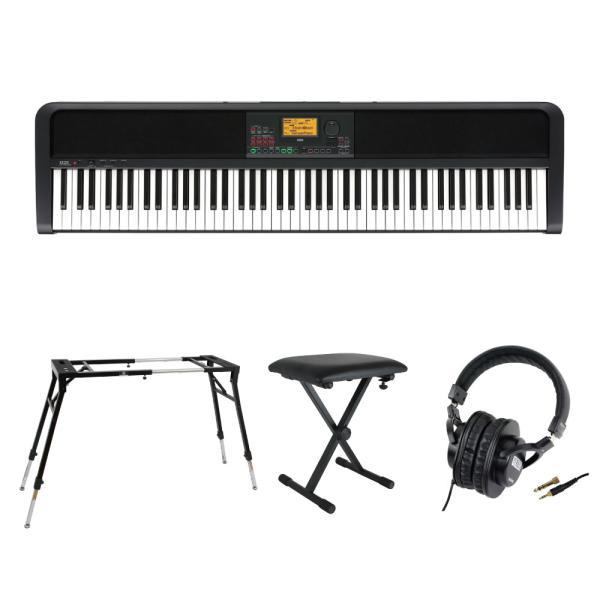 KORG XE20 DIGITAL ENSEMBLE PIANO 88鍵盤 自動伴奏機能付き 電子ピアノ キーボードスタンド キーボードベンチ ヘッドホン 4点セット [鍵盤 Fset]