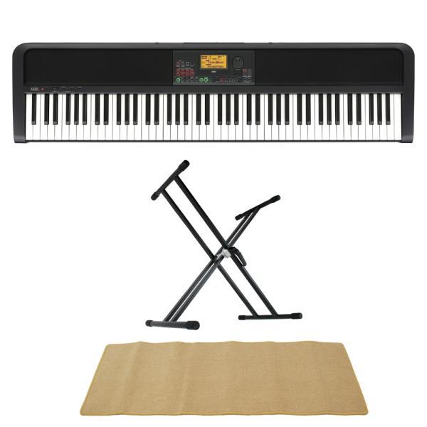 KORG XE20 DIGITAL ENSEMBLE PIANO 88鍵盤 自動伴奏機能付き 電子ピアノ スタンド マット 3点セット [鍵盤 AMset]