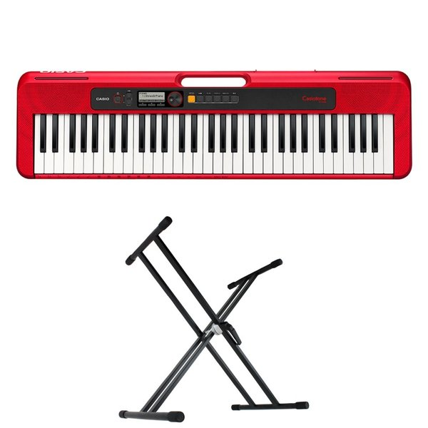 CASIO CT-S200 RD Casiotone 61鍵盤 キーボード レッド キーボードスタンド 2点セット [鍵盤 Aset]