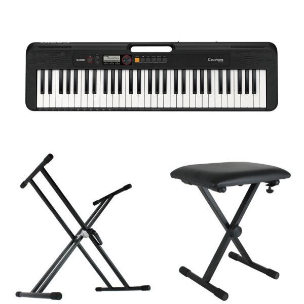 CASIO CT-S200 BK Casiotone 61鍵盤 キーボード ブラック キーボードスタンド キーボードベンチ 3点セット [鍵盤 Bset]
