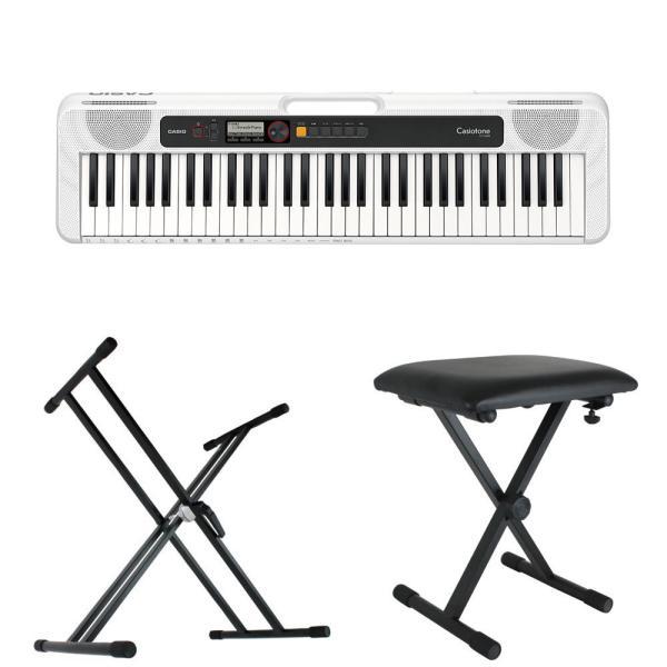 CASIO CT-S200 WE Casiotone 61鍵盤 キーボード ホワイト キーボードスタンド キーボードベンチ 3点セット [鍵盤 Bset]