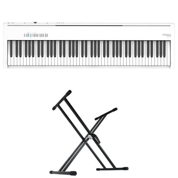 ROLAND FP-30X-WH Digital Piano ホワイト 電子ピアノ キーボードスタンド 2点セット [鍵盤 Aset]