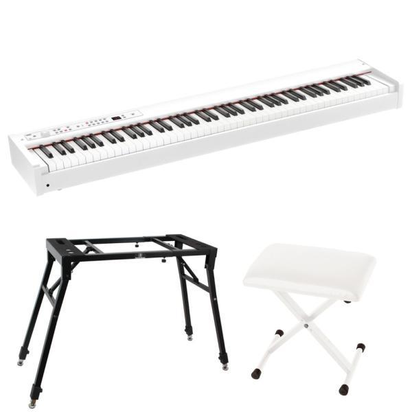 KORG D1 WH DIGITAL PIANO 電子ピアノ ホワイトカラー 4本脚型スタンド X型椅子付きセット