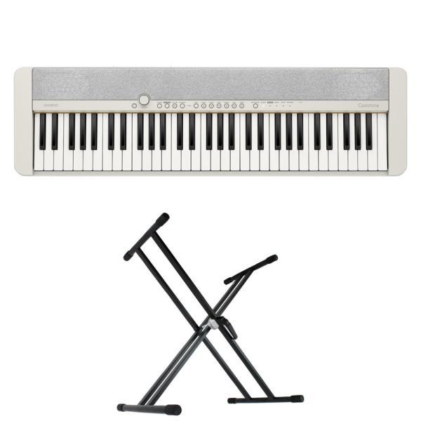 CASIO CT-S1 WE Casiotone 61鍵盤 電子キーボード キーボードスタンド 2点セット [鍵盤 Aset]