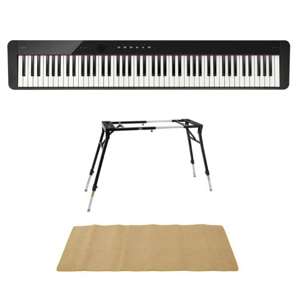 CASIO Privia PX-S1100 BK 電子ピアノ 4本脚型キーボードスタンド ピアノマット(クリーム)付きセット