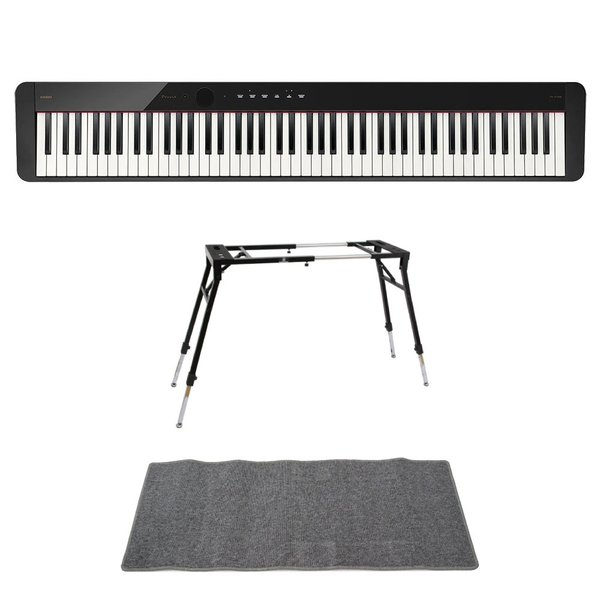 CASIO Privia PX-S1100 BK 電子ピアノ 4本脚型キーボードスタンド ピアノマット(グレイ)付きセット