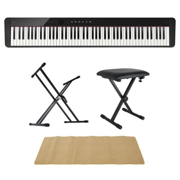 CASIO Privia PX-S1100 BK 電子ピアノ キーボードスタンド キーボードベンチ ピアノマット(クリーム)付きセット