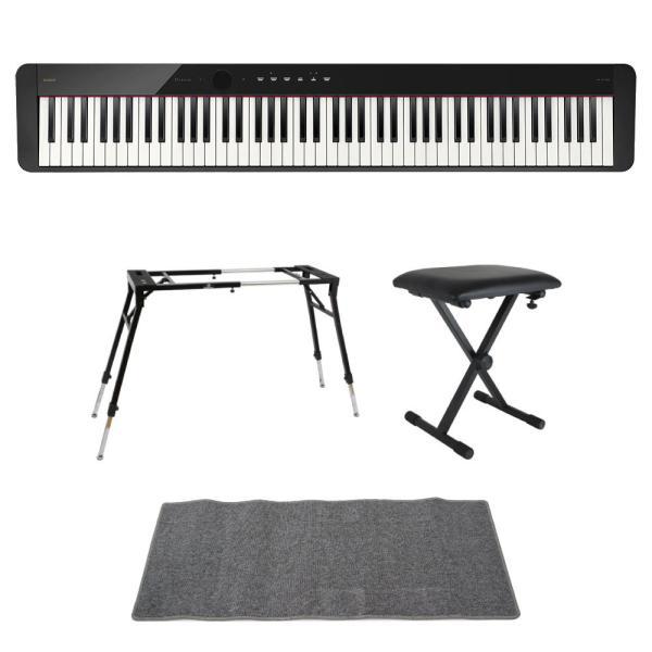 CASIO Privia PX-S1100 BK 電子ピアノ 4本脚型キーボードスタンド キーボードベンチ ピアノマット(グレイ)付きセット