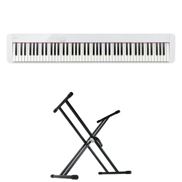 CASIO Privia PX-S1100 WE 電子ピアノ キーボードスタンド 2点セット [鍵盤 Aset]