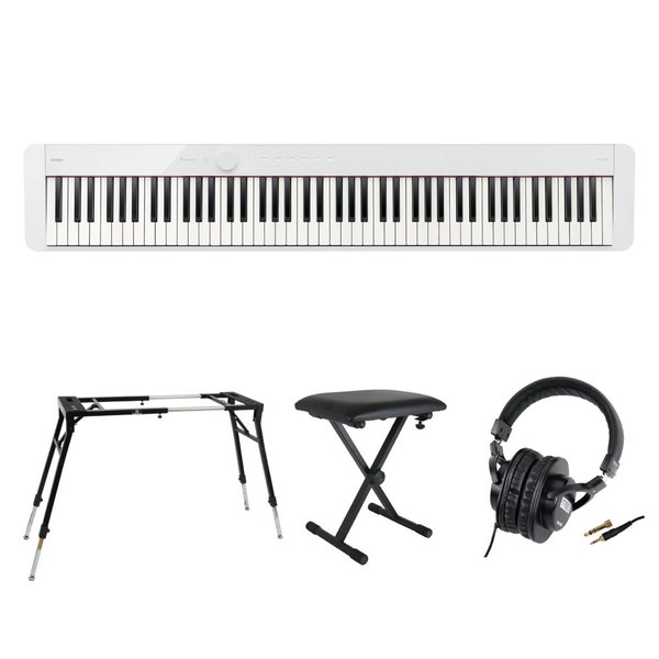 CASIO Privia PX-S1100 WE 電子ピアノ キーボードスタンド キーボードベンチ ヘッドホン 4点セット [鍵盤 Fset]