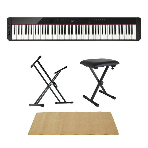 CASIO Privia PX-S3100 BK 電子ピアノ キーボードスタンド キーボードベンチ ピアノマット(クリーム)付きセット