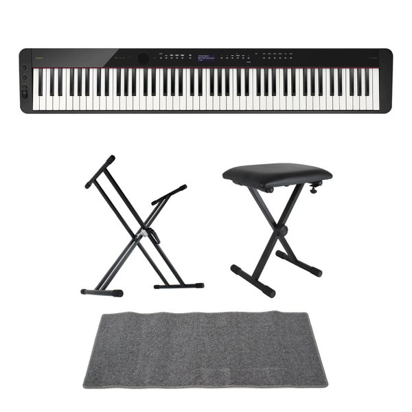 CASIO Privia PX-S3100 BK 電子ピアノ キーボードスタンド キーボードベンチ ピアノマット(グレイ)付きセット