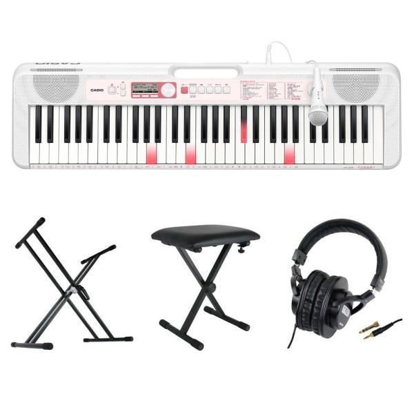 CASIO LK-320 61鍵盤 光ナビゲーション キーボード キーボードスタンド キーボードベンチ ヘッドホン 4点セット