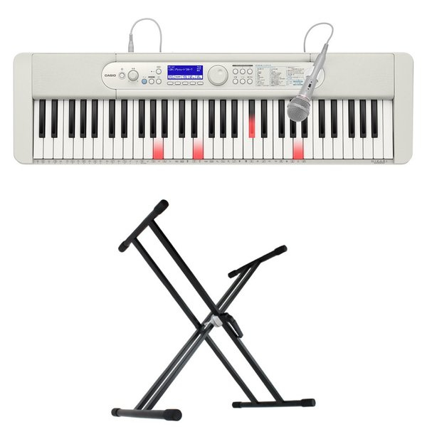 CASIO LK-520 61鍵盤 光ナビゲーション キーボード キーボードスタンド 2点セット