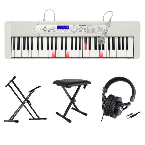 CASIO LK-520 61鍵盤 光ナビゲーション キーボード キーボードスタンド キーボードベンチ ヘッドホン 4点セット