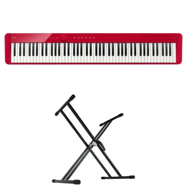 CASIO Privia PX-S1100 RD 電子ピアノ キーボードスタンド 2点セット [鍵盤 Aset]