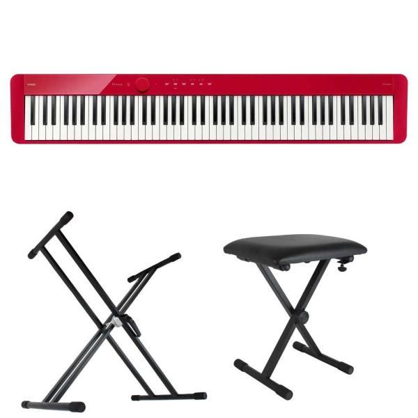 CASIO Privia PX-S1100 RD 電子ピアノ キーボードスタンド キーボードベンチ 3点セット [鍵盤 Bset]