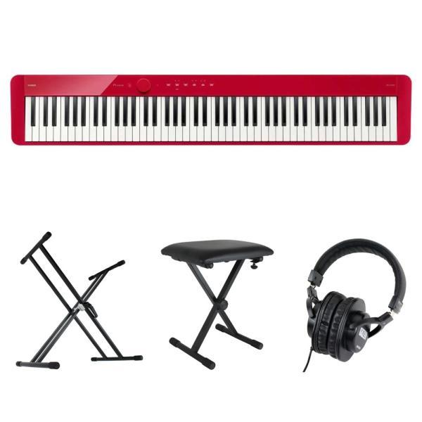 CASIO Privia PX-S1100 RD 電子ピアノ キーボードスタンド キーボードベンチ ヘッドホン 4点セット [鍵盤 Cset]