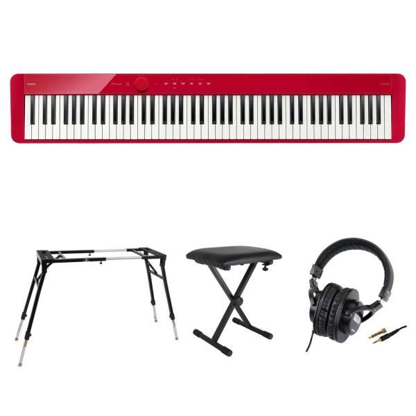 CASIO Privia PX-S1100 RD 電子ピアノ キーボードスタンド キーボードベンチ ヘッドホン 4点セット [鍵盤 Fset]
