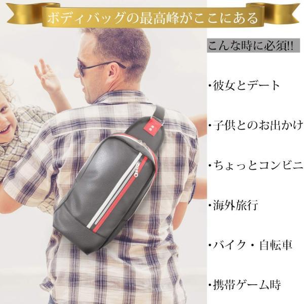 【ファイナルセール】ショルダーバッグ ボディーバッグ 防水 レザー 斜めがけ メンズ 2色 ブラック ネイビー|chy|03