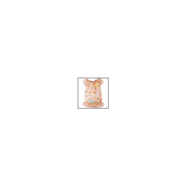 犬の服 春 夏 新作 リボンフラワーシフォンフリルワンピース オレンジ Appleapple アップルアップル 洋服 ドッグウェア